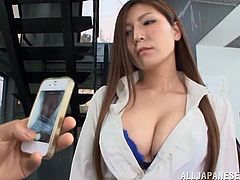 A young seductive Japanese teacher allows her student to take photos of her, when they accidentally meet on the school's empty corridor. In fact, the attractive lady seems pleased to be admired, so she generously offers the whole picture and even lets the naughty boy touch her blue sexy bra. Feel free to watch!
