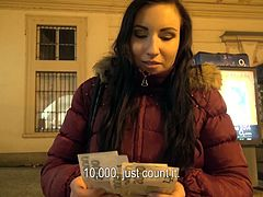 A girl met while rambling on the Czech streets at a late hour, agreed to show her sensational tits for a few moments. The naughty brunette seemed a bit shy, but when she was offered money to go in a more remote place, she took it. Click to watch slutty Jess persuaded to suck cock. Enjoy!