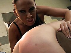 Brunette Mandy Bright with juicy breasts makes Ann Marie La Santes sexual fantasies cum true