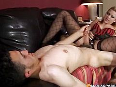 A guy touches his penis in front of maid