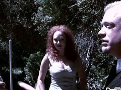 A redhead curly haired girl meets two people in the forest and they ask her to come to their home for a fuck. The girl can't say no, as she too wants a double penetration for her mouth and for her pussy. Both those guys gave her a mouth and pussy full of cum generously.