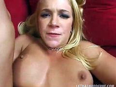 Busty blond haired hottie ride massive sausage of her stud passionately