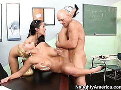 Johnny Sins plays hide the salamy with Asian Carmella Bing with huge tits and bald cunt