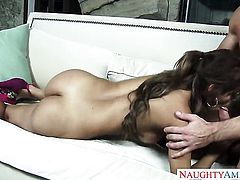 Johnny Castle admires yummy Biankas body before she takes his man meat in her slit