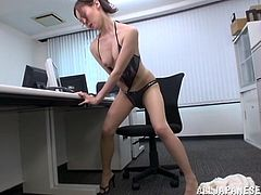 sexy japanese babe masturbates in the office