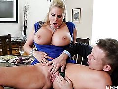 Karen Fisher  Sammy Brooks with big melons drops on her knees to give deep blowjob to Bill Bailey