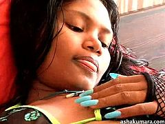 When Indian babe Asha is all alone she gets into some naughty action. She is feeling sexy and horny, so she slides her hands under her bikini. The sexy Indian slut rubs her boobs and plays with her sweet vagina.