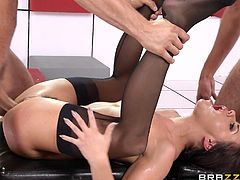 A slutty brunette patient is recommended to get loose. The attractive babe follows the doctor's advice and enjoys the company of three horny studs. Her naked body looks extraordinary hot! Click to watch sexy Adriana, sucking cocks with an obvious passion. She gets banged hard from behind and likes anal sex!