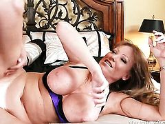 Seth Gamble gets his always hard boner used by Darla Crane with giant tits and bald bush