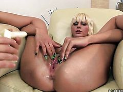 Blonde tart is sexually happy to be pounded by guy with rock hard schlong over and over again