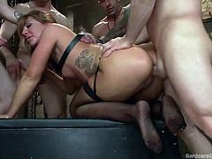 A horny bitch is eager to have rough sex in a tough gang bang. Savannah's fantastic tits and crazy ass look very appetizing. The blonde's sexual appetite becomes obvious, when she is sucking cocks with such a passionate frenzy. Watch the slut fucked hard from behind. Don't forget that anal is included!