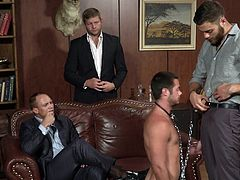 He has no self esteem and enjoys to be the sex toy of the rich and powerful. This male slut is brought completely naked on a leash and putted to work. He submissively kneels and sucks cock, then he bends over and takes it deep from behind. The guys are gonna have a great time with him, wanna join them?