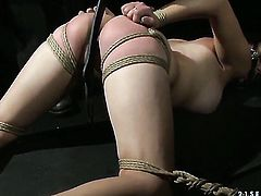 Estella gets down on her knees to take guys snake deep down her throat