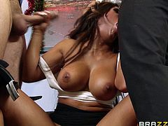 Tanned busty beauty fucked by two horny coeds with big dicks