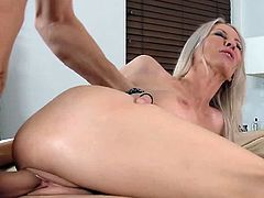 Amazing blonde teacher Emma Starr suck and fuck student`s large cock