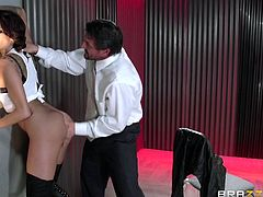 Hispanic milf Kayla is one hell of a beauty. This sensual piece of ass knows the game and she loves to play it, only that once in a while she gets caught, and when that happens, boy is she paying for it. This time she plaid with a real guy, so he putted her to face the wall and his big, hard dick!