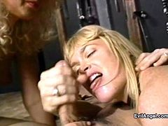 Lingerie-clad blonde with a hairy pussy enjoying an awesome FFM threesome