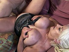 Fat grannie gets her plump muff fucked in missionary position