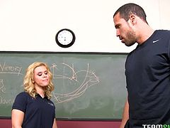 Elizabeth Bentley saves her coach from the janitor by fucking him. Her teacher was racist and the janitor heard him, so she charms him with her curves and young cunt.