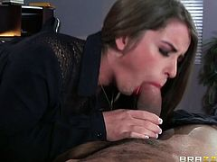 Gorgeous busty secretary gives footjob to her young and handsome boss