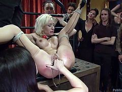Do you have an interest in bonded and humiliated women? A blonde-haired naked bitch is disgraced in public. She is totally helpless and obeys the dominant men, that use her in the dirtiest ways possible. See her trapped in a perfect fierce rope bondage, while her legs are widely spread and she sucks cock...