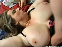 Huge tits brunette babe loves getting her big tits fucked by hard cock.Watch this hot gal and her 36DDD tits getting fucked by that fat cock before he bends her and fucks her hard in this hot homemade video.