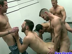 Orgy gay dude fucks hard in