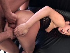 Black haired pussy has huge fisted