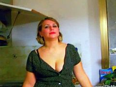 Chubby housewife so horny so she seduces her partner showing her nice tits in her black bra and started unzipping his pants to suck his cock deep and have a mouthful of cum.