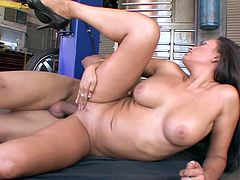 Bosomy and hot like fire MILF Claudia Valentine is fucked mish in garage