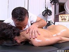See how this hot brunette lady is getting hornier by the tricky touches of her masseur. The lady gets naked and lies down with her asses up. The naughty guy visits through all the sensitive places of her hot & sexy body, to make her horny, so that he can lure her into a great fuck.