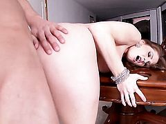 Allison Moore with gigantic knockers and trimmed muff gets mouth slammed the way she loves it