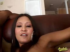 Watch this sexy Latina brunette babe Jadelyn Santana in this hot interracial threesome fuck scene.See how this babe sucks on those two big hard cocks before getting rammed hard.