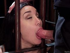 The basement is a great place to hid and keep sexual slaves... Gabriella is one of them. The helpless brunette babe with small fresh tits is closed in a cage. She is fed through the cold bars. The menu is her executor's cock, which she has to suck whenever he wants to. Enjoy the sadistic kinky view!