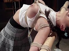 asian slut gets hogtied