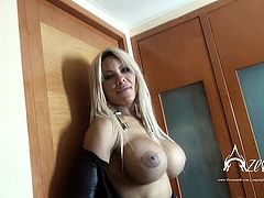 TS Azeneth strips to show her big tits