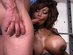 Working out has never been this steamy and wild as this monster boobies ebony temptress rides huge white boner for fun.