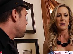 Superb chesty moms Brandi Love, Eva Karera and Julia Ann fucking a lucky stud in foursome