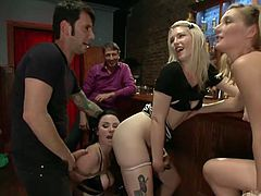 Veruca has been bonded with ropes. The brunette sexy bitch has her fantastic tits and appetizing buttocks exposed, so everybody in the bar can see her. Watch the men making her suck their cocks in public. Don't miss the rim job hot scene which is extremely exciting.