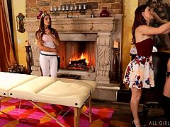 August and Karlie see that their friend Shyla, is feeling really tense, so the sexy ladies invite their friend over, to give her a massage. She gets kissed and has her body rubbed all over. She is feeling much more relaxing now, that her lesbians friends are rubbing her.