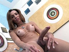 Are you fond of hardcore videos with horny shemales, who love playing dirty with themselves? Gabrielli is a naughty ladyboy, who feels very comfortable showing his naked body in front of the camera. His body has tan lines, putting in evidence the nice tits and ass appetizing area... See the masturbation scene!