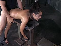Shackled in strict bondage Ava Dalush gets mouth banged rough