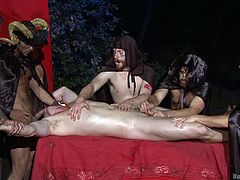 Kip Johnson is the sacrifice to the Dominating Demon and the followers are free to fuck this bound man as please. Watch these dudes as they're playing with the marvelous body of Kip and toying with his cock. Kip keeps entertaining his surroundings with handjob & blowjob, while getting his ass fucked!