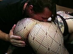 Horny tattooed filth in sexy pantyhose gets her anus pleased with butt plug