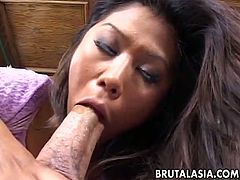 Lustful Asian chick gives her head and rides meaty white cock reverse
