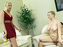 This dirty blonde slut is fucking her boyfriend on the couch, when she should be studying. Her step mother walks in and catches them in the act. Instead of getting mad, the stepmom offers to teach her a lesson, and she shows the young blonde the proper way to suck and ride cock.