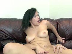 Horny hubby doggy fucks his chubby Asian chick with big tits tough