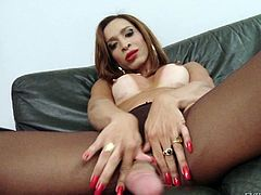Gabrielli is a horny shemale, that needs to fulfill the urging desire of playing dirty with herself. Her body keeps the trace of tan lines, putting in evidence a pair of yummy small tits. Click to watch the lusty ladyboy wearing stockings and high heels, masturbating on the couch in front of the camera!