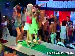 Drunk excited bitches dancing with strippers on the stage