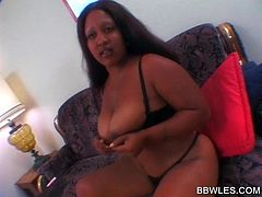 Busty BBW ebonies vibrating their horny pussies on couch
